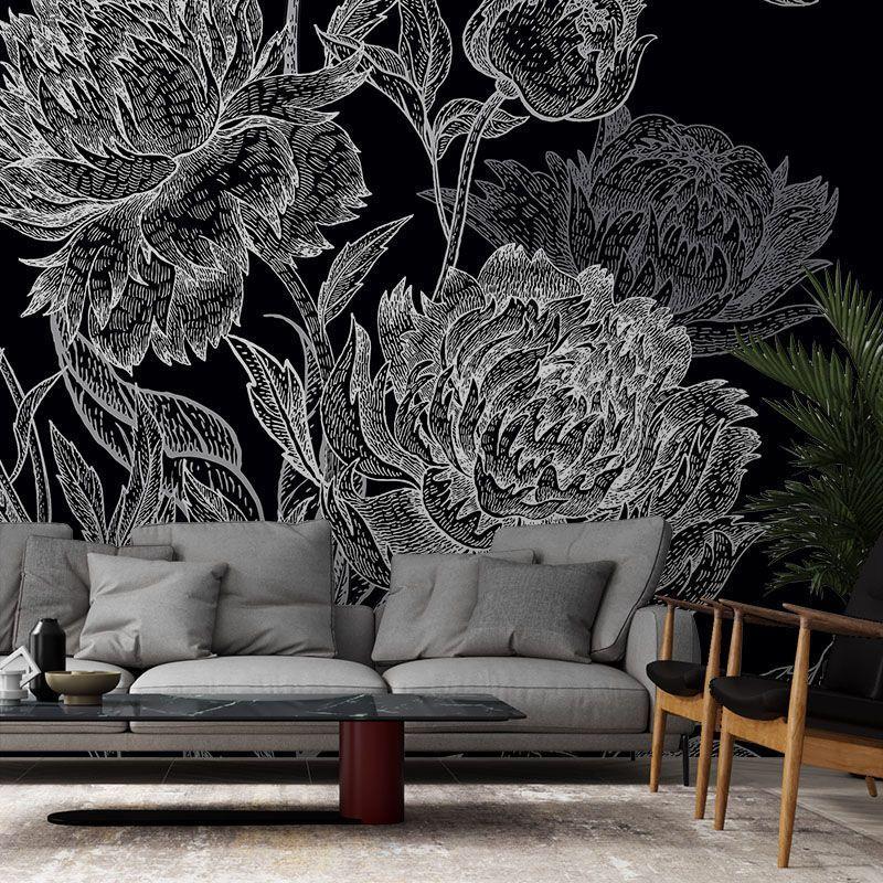 Fototapeta Kwiaty na czarnym tle - rysunek, szkic