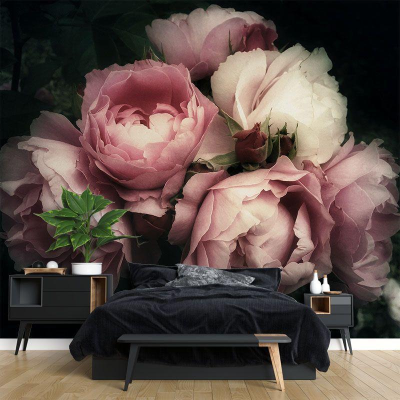 Fototapeta Bukiet Piwonii Róż w stylu vintage na ciemnym tle