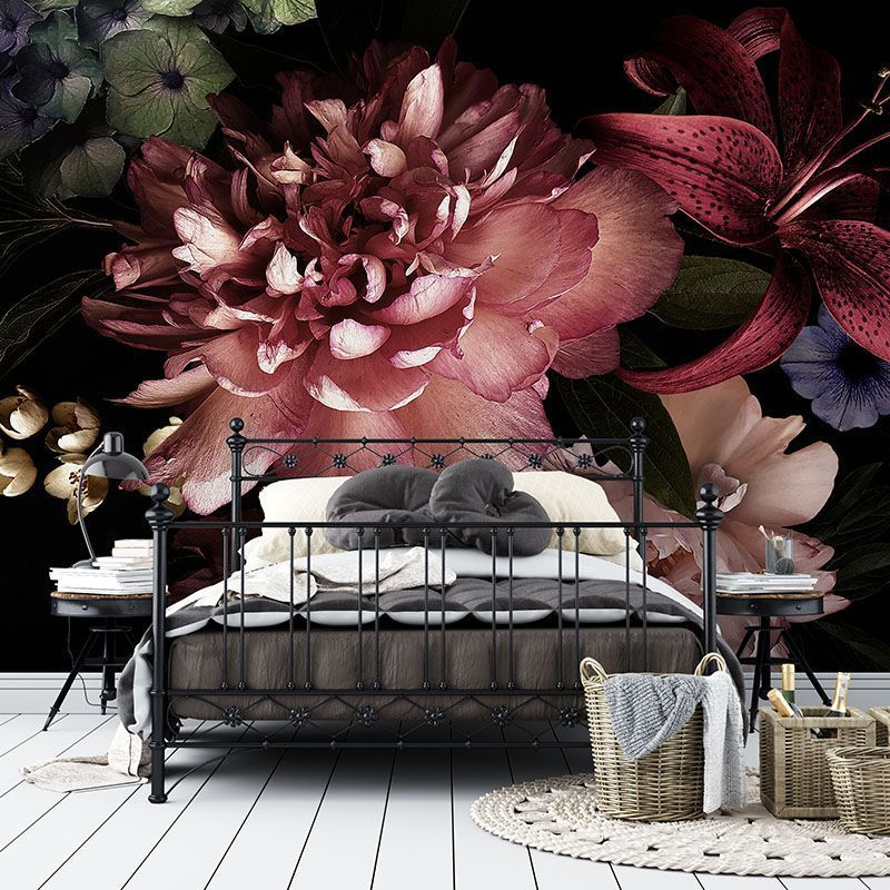 Fototapeta Kwiaty 3D w stylu Vintage na Czarnym Tle
