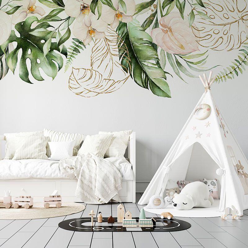 Fototapeta Tropikalne Kwiaty i Liście - akwarela