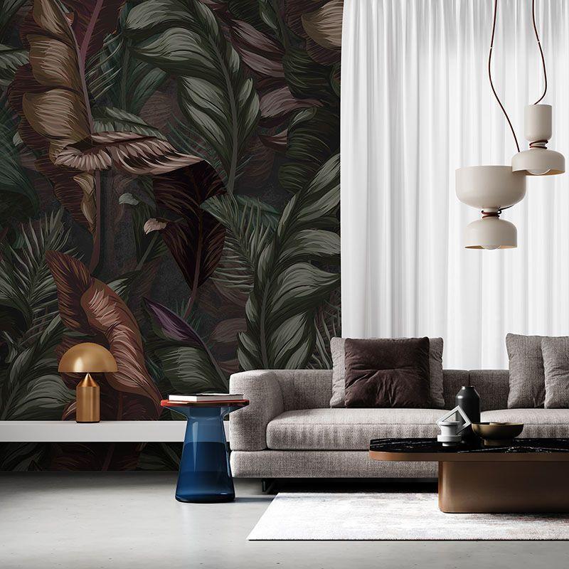 Fototapeta Tropikalne Liście w stylu retro - wzór botaniczny