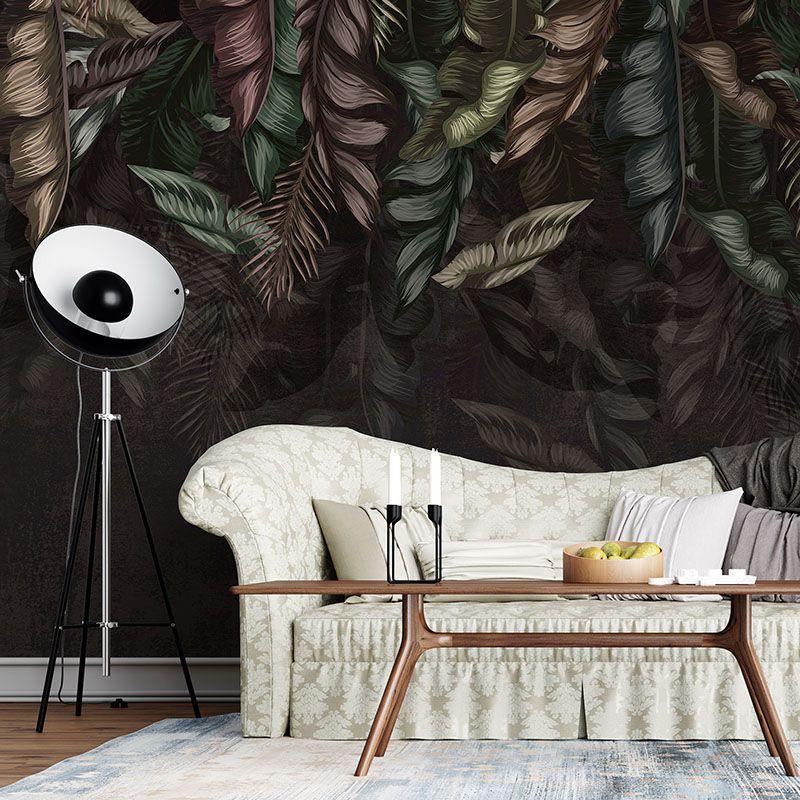 Fototapeta Liście na zamszowej ścianie - Wzór botaniczny