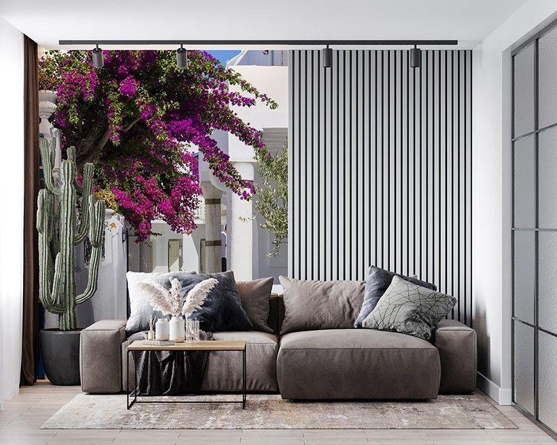 Fototapeta Biała uliczka grecka z kwiatami