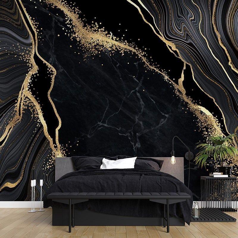Fototapeta Czarny marmur ze zdobieniami w kolorze złota JAPOŃSKA TECHNIKA KINTSUGI