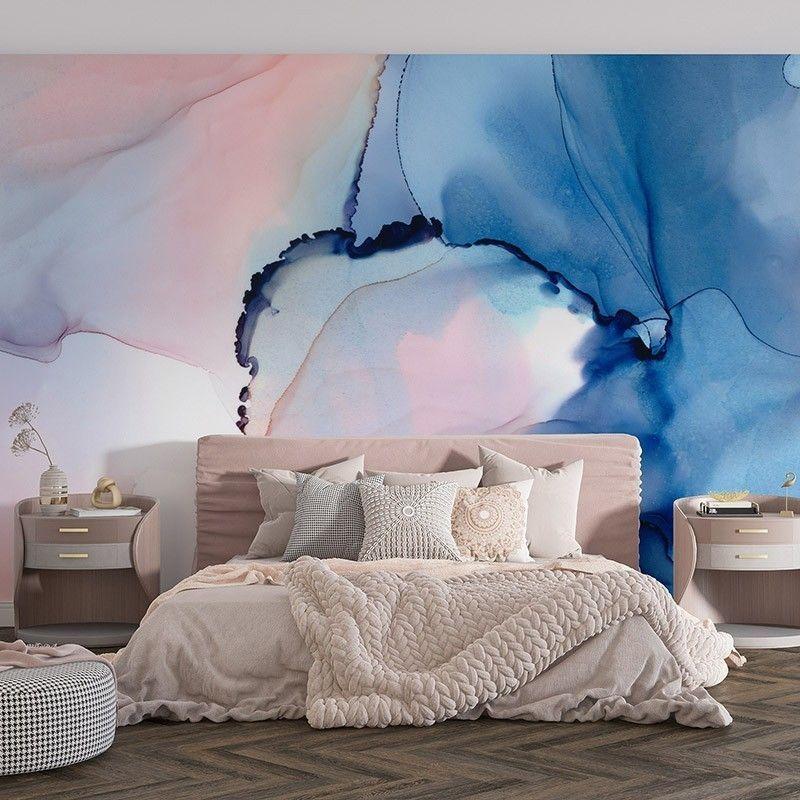 Abstrakcja w kolorach niebieskich i różowych