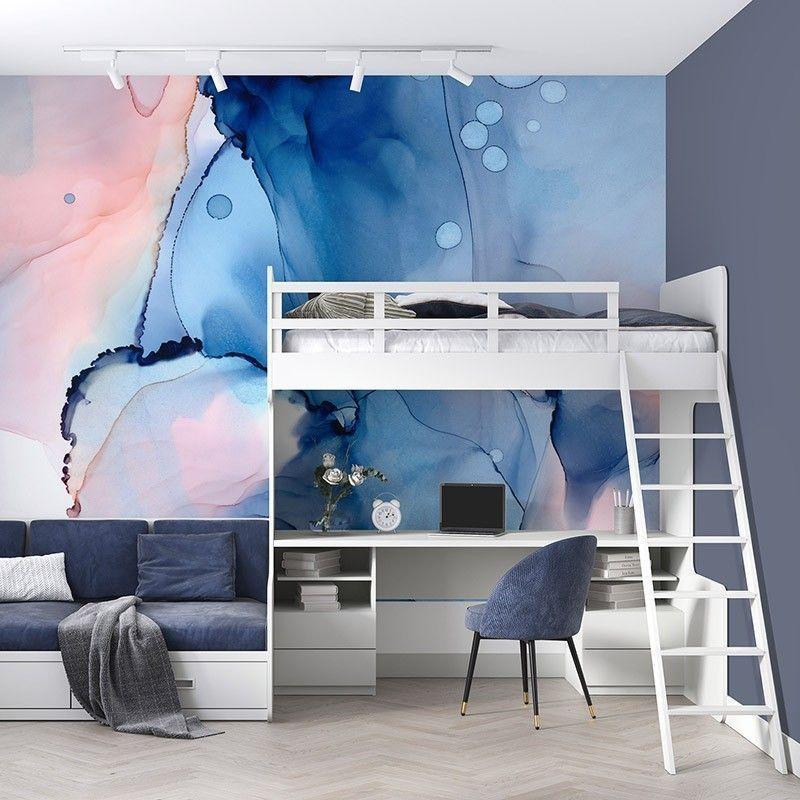Abstrakcja w kolorach niebieskich i różowych, piękna fototapeta do pokoju młodzieżowego