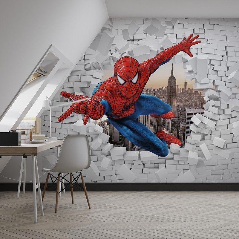 Fototapeta 3D - Spiderman burzy ścianę