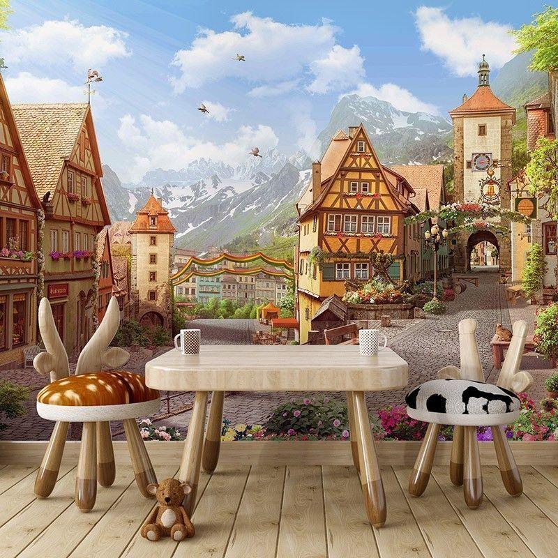 Fototapeta Dziecięca Ilustracja Miasteczko w Alpach