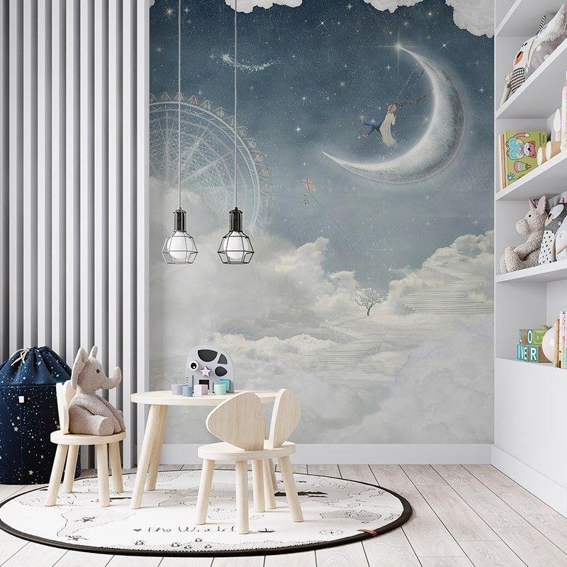 Fototapeta Miasto w chmurach, ilustracja dziecięca
