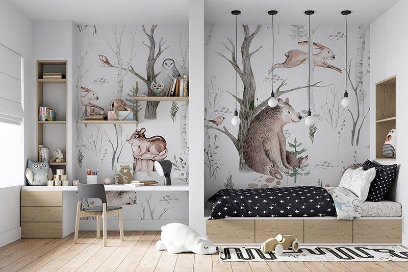 Fototapeta dla dzieci Akwarela Leśne Zwierzęta - niedźwiedź, zając, jeż, sowa, skandynawski wzór