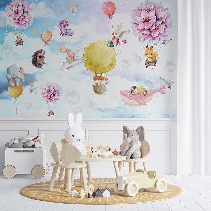 Fototapeta Bajkowa ilustracja zwierzątek latających balonem