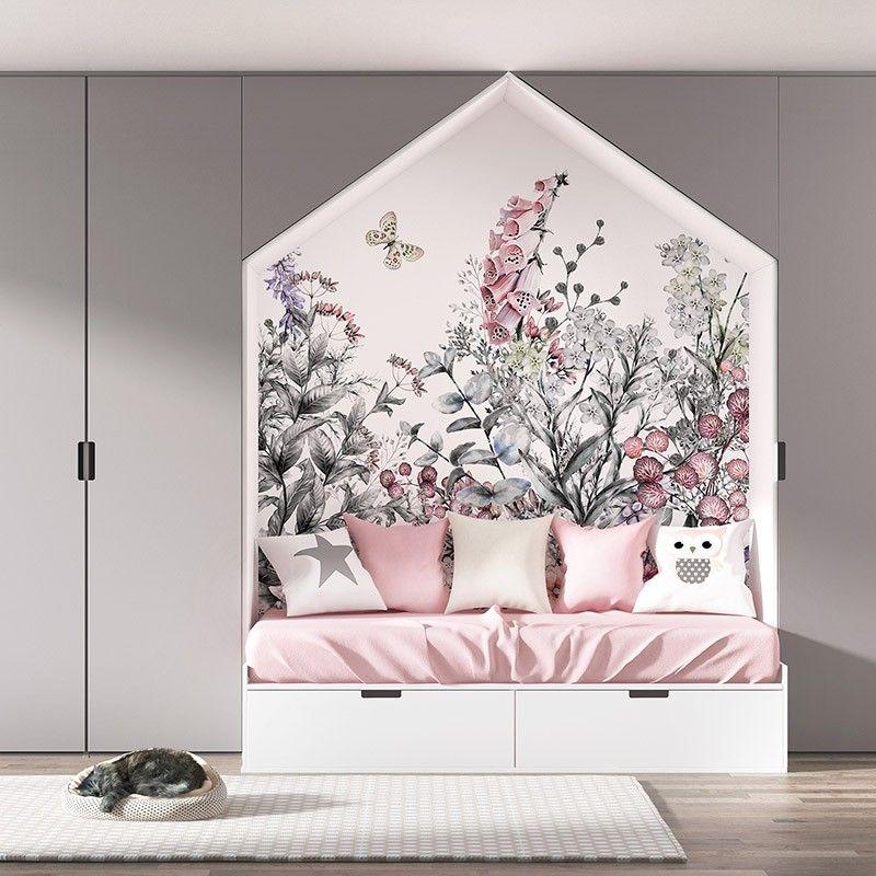 Fototapeta Kwiatowa łąka - piękny wzór do pokoju dziewczynki, nastolatki