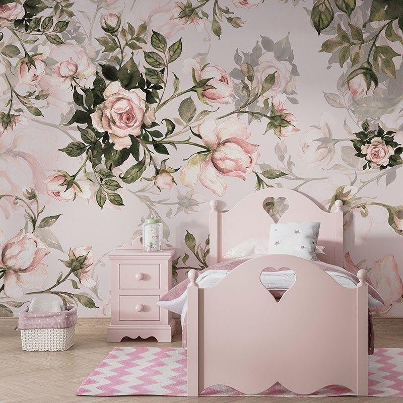 Fototapeta do pokoju dziewczynki, róże akwarela