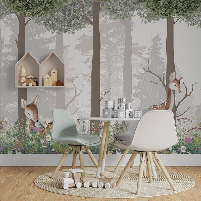 Fototapeta Malowany las z uroczymi sarenkami