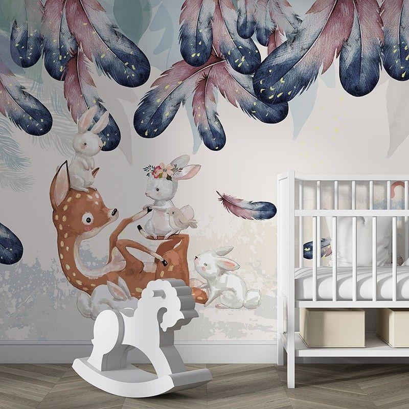 Fototapeta Malowana ilustracja sarenka i króliczki