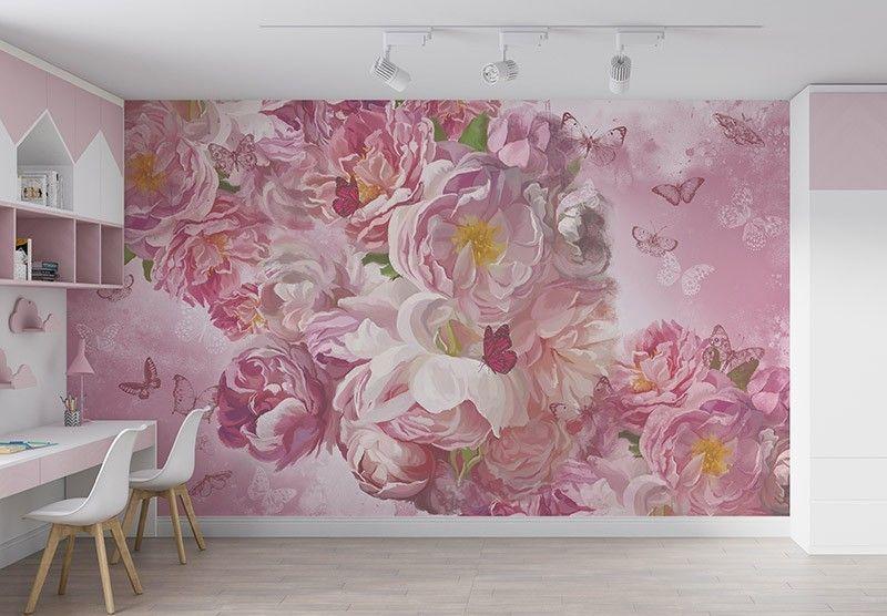 Fototapeta Delikatne różowe piwonie i motyle