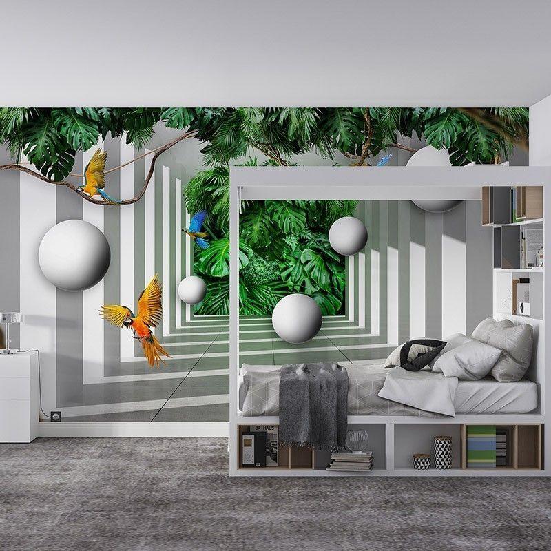 Fototapeta Tropikalny Tunel 3D z papugami