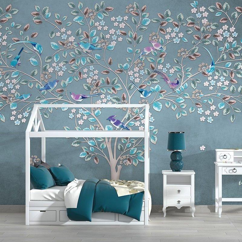 Fototapeta dziecięca piękne drzewo z kwiatami i ptakami