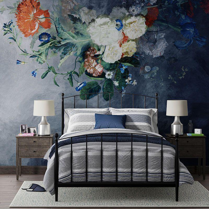Fototapeta Malowane kwiaty na granatowej abstrakcji