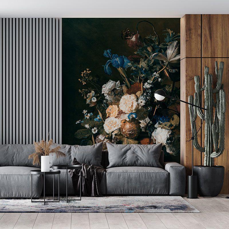 Fototapeta Bukiet kwiatów na ciemnym tle, malarstwo