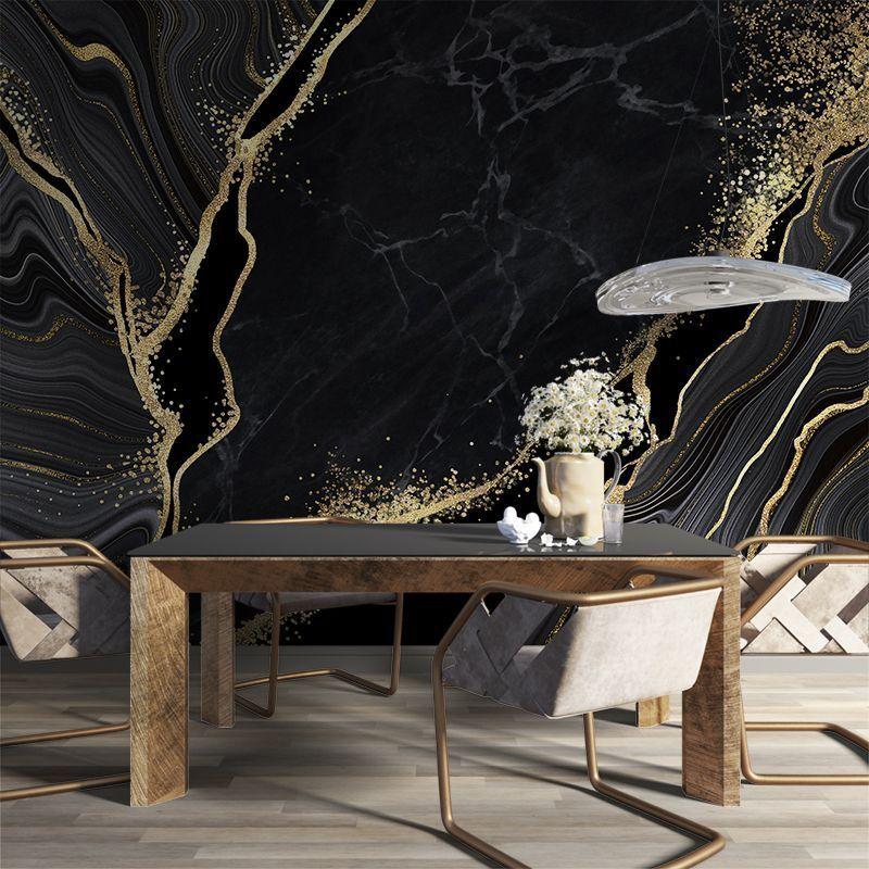 Fototapeta Czarny marmur ze złotymi zdobieniami - JAPOŃSKA TECHNIKA KINTSUGI