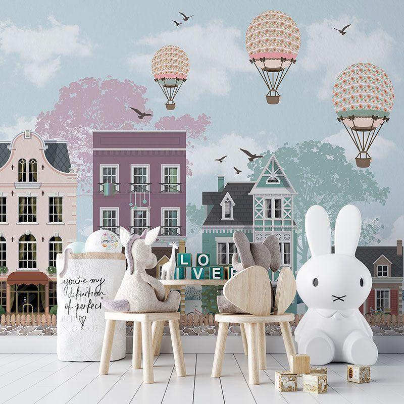 Fototapeta Dziecięca Ilustracja Domy i Balony