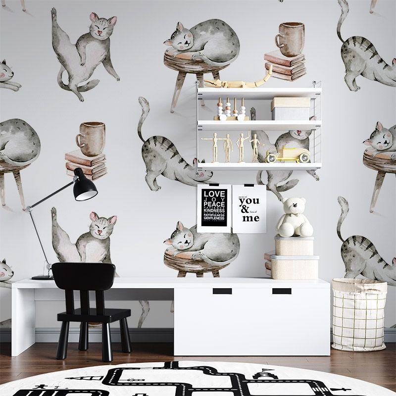 Fototapeta wesołe koty akwarela - do pokoju dziecięcego