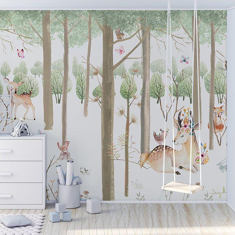 Fototapeta akwarela w pastelowych kolorach. Leśne zwierzęta i las