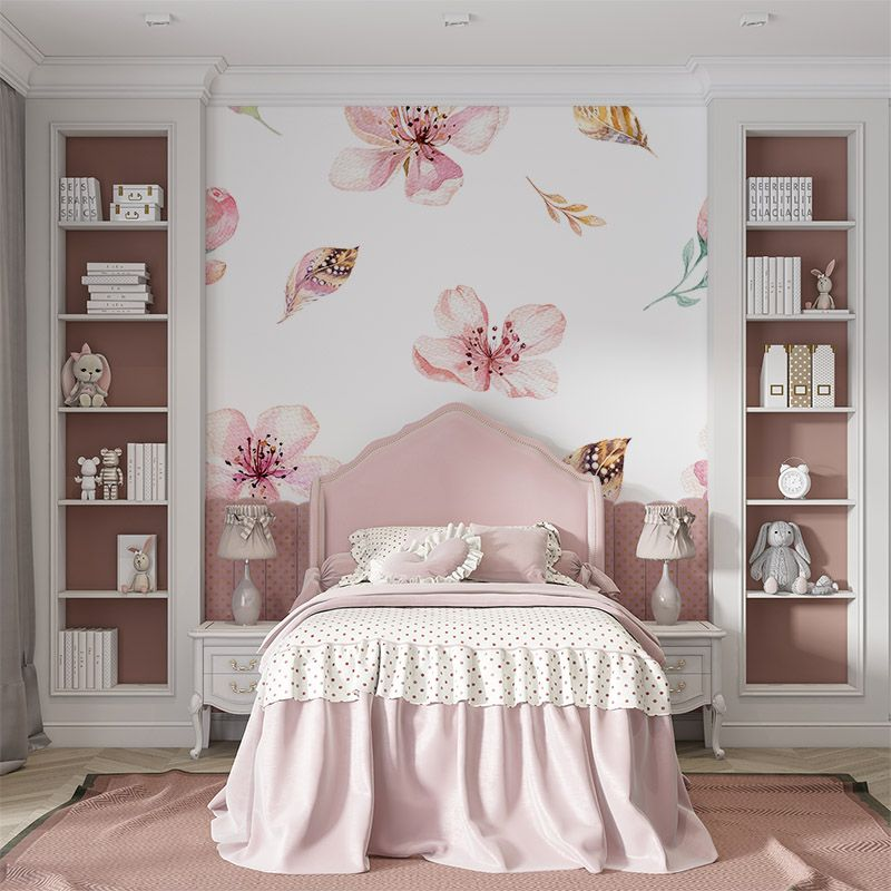 Fototapeta różowe kwiaty i piórka w stylu boho do pokoju dziecięcego dla dziewczynki