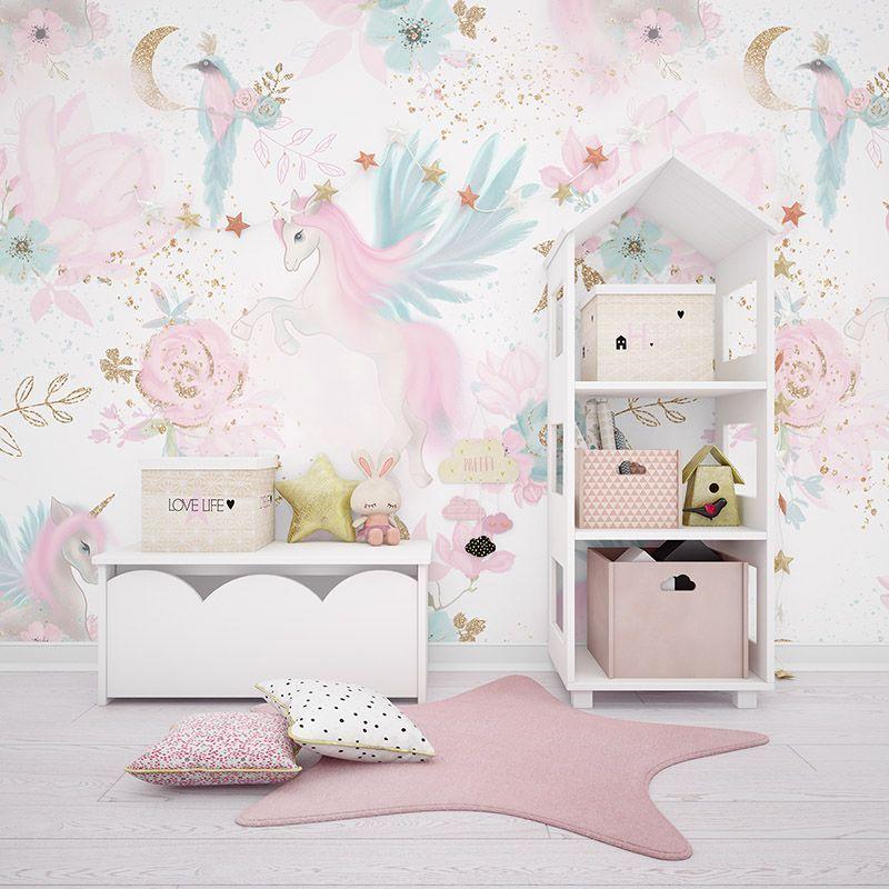 Fototapeta dla dziewczynki różowe jednorożce, kwiaty, ozdoby w złotym kolorze