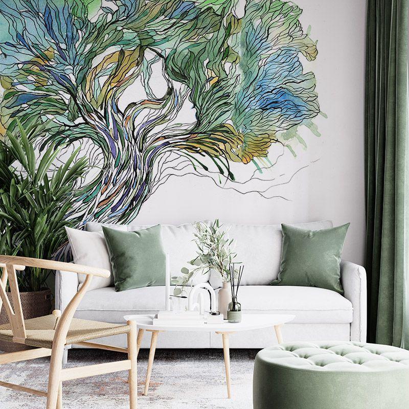 Fototapeta Kolorowe Stare Drzewo Ilustracja