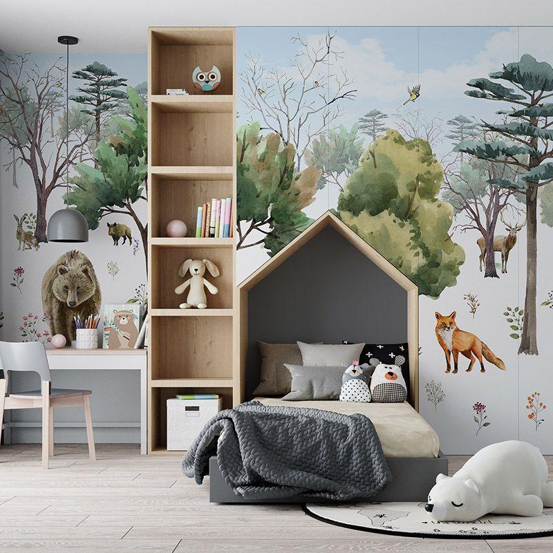 Fototapeta las i leśne zwierzęta - niedźwiedź, wilk, dzik, lis, sarna, zając - fototapeta do pokoju dziecka z motywem leśnym