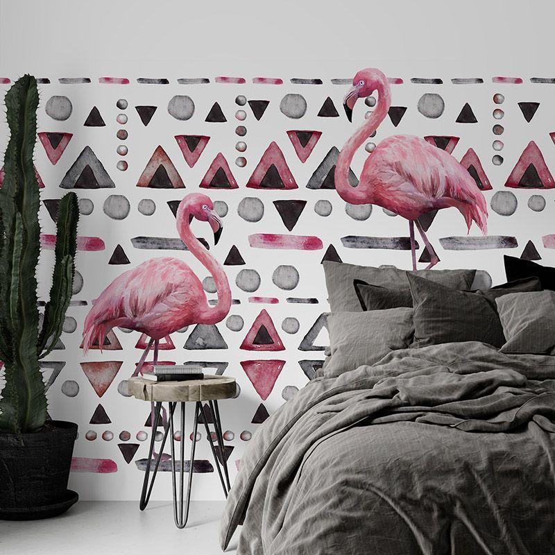 Fototapeta Różowe flamingi na geometrycznym tle - akwarela