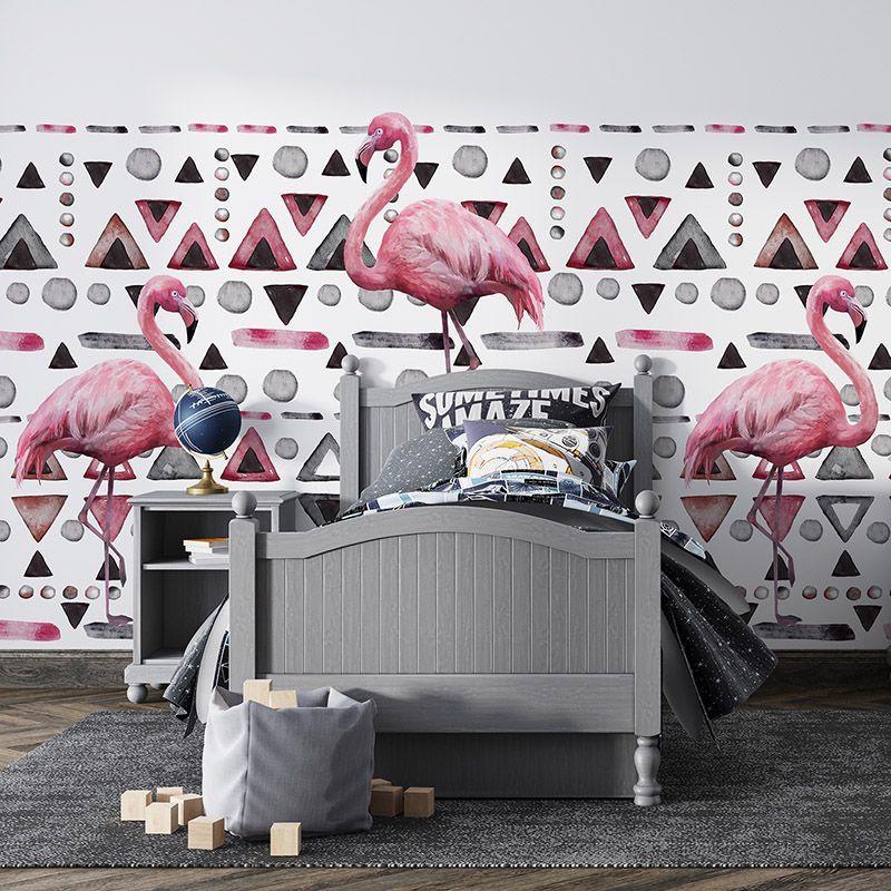 Fototapeta różowe flamingi, geometryczny wzór - do pokoju dziewczynki lub młodzieżowego