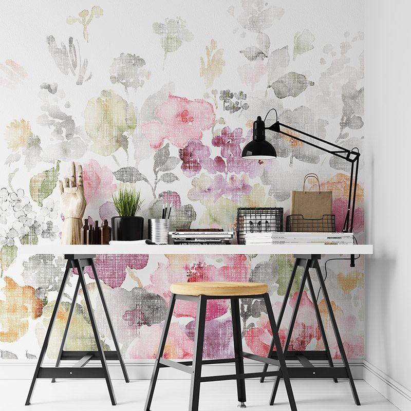 Fototapeta Kwiaty, akwarela na teksturowanym tle