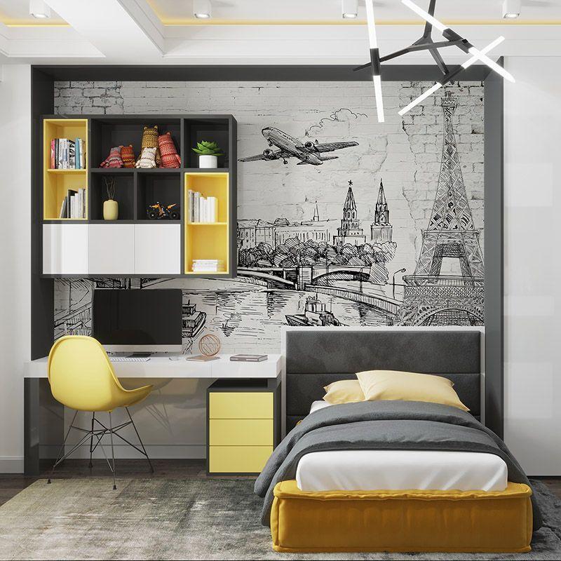 Fototapeta stara ścian szkic wieży Eiffla , budynków, samoloty, statków