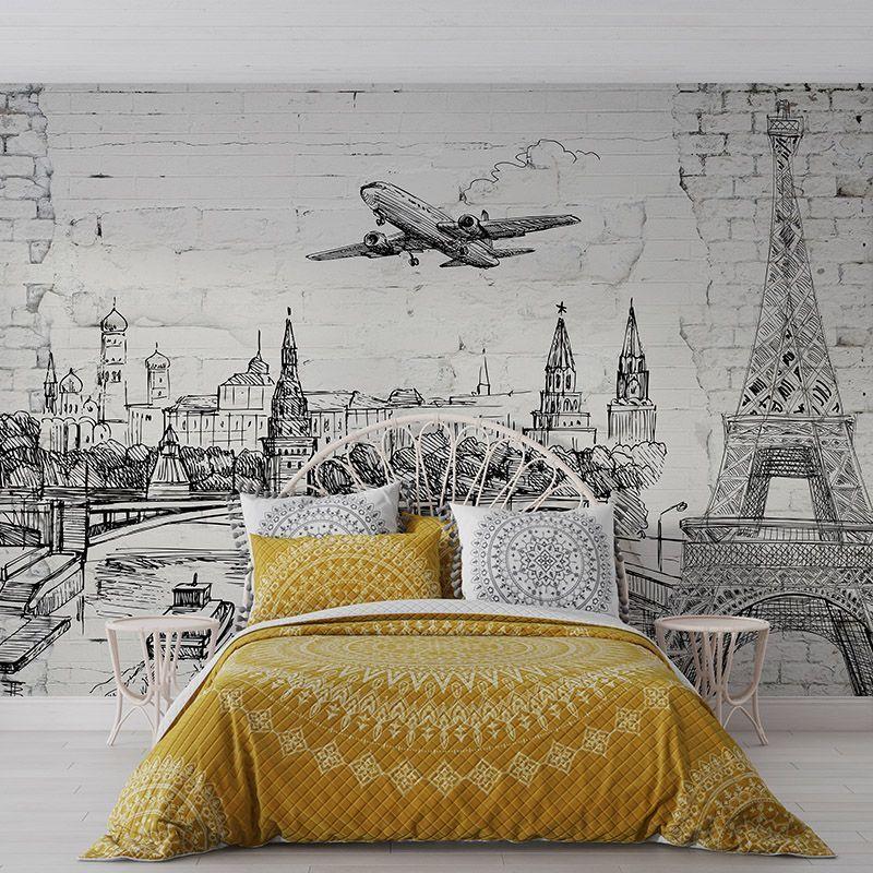 Fototapeta stara ceglana ściana, zarys zabytków świata, samolot na niebie i łodzie na rzece, wieża Eiffla