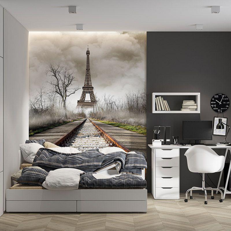 Fototapeta Wieża Eiffla i tory, efekt głębi