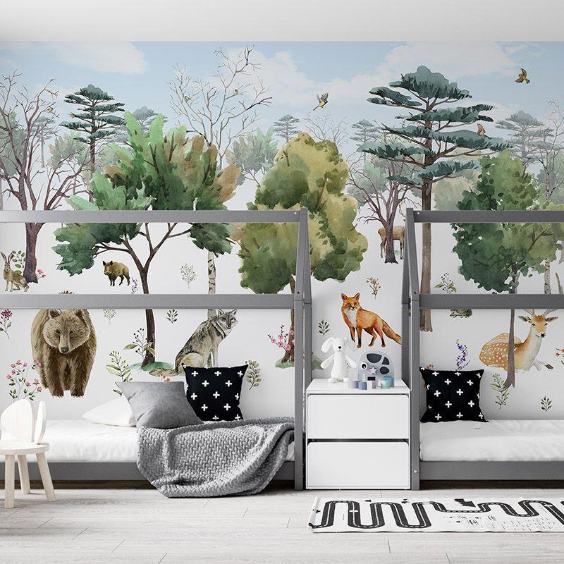Fototapeta Leśne Zwierzęta wśród drzew - akwarela