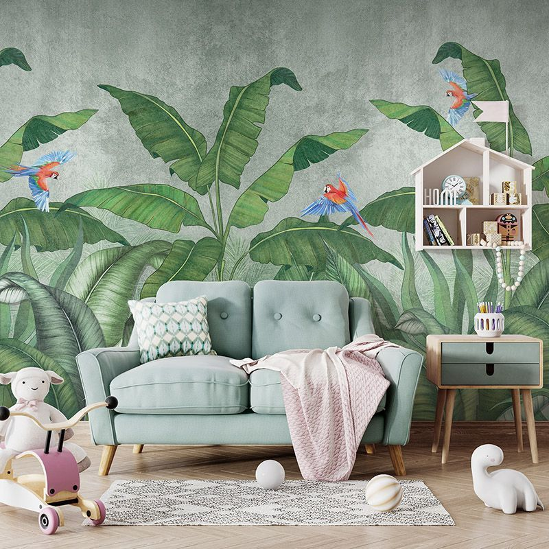 Fototapeta tropikalna dżungla z latającymi papugami - pokój dziecięcy, pokój dziewczynki