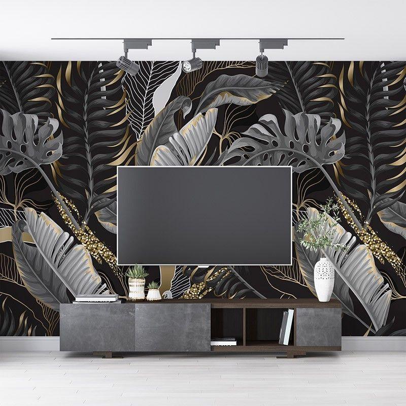 Fototapeta czarno białe liście tropikalne z elementami w kolorze złota