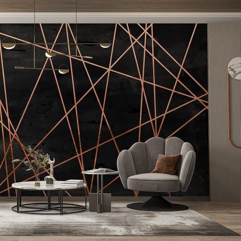 Fototapeta Nowoczesne tło z geometrycznymi liniami w kolorze miedzi