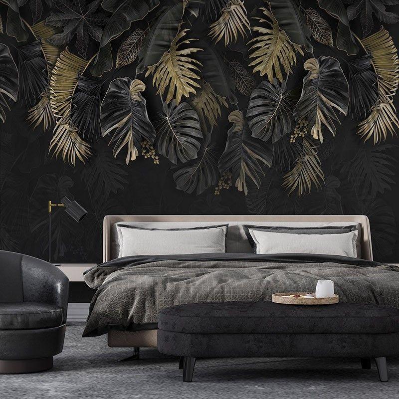 Fototapeta Czarna tapeta z liśćmi palmy w kolorze złota