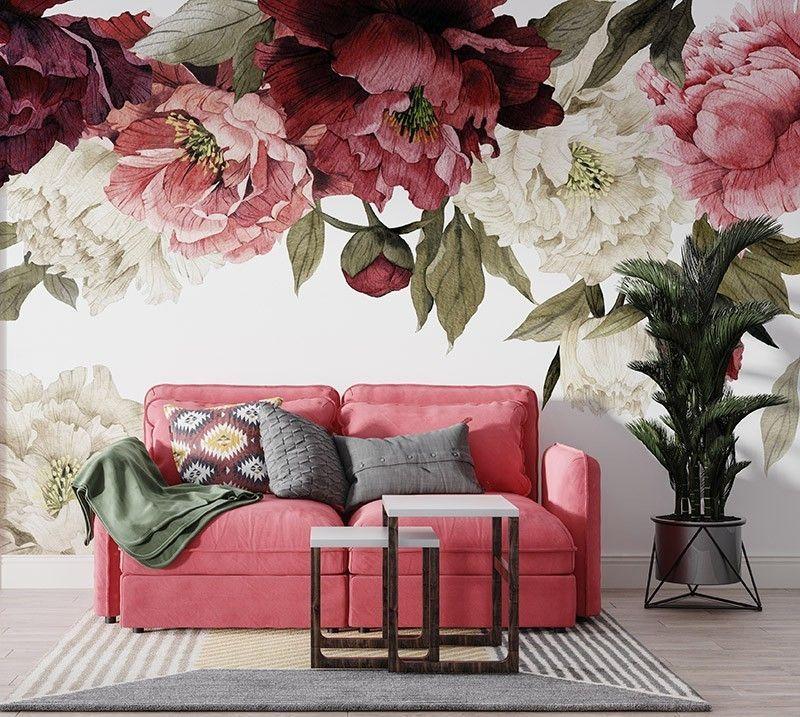 Fototapeta Kwiaty Malowane Piwonie Akwarela