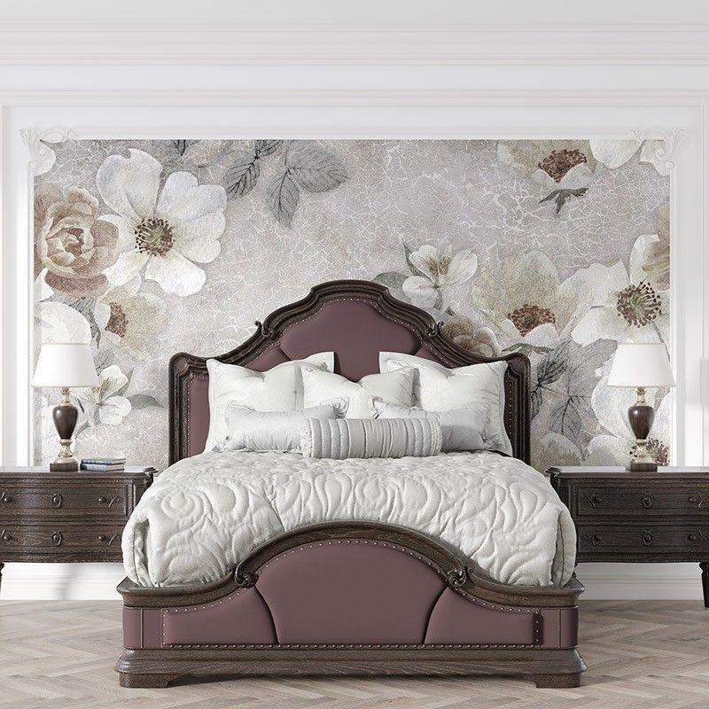Fototapeta Kwiaty na tle popękanej ściany