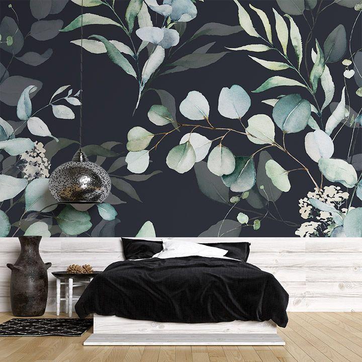 Fototapeta wzór zielonych liści i gałęzi na czarnym tle