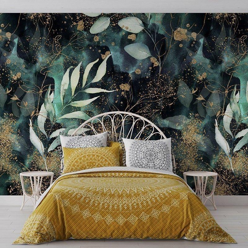 Fototapeta wzór malowanych liści na ciemnym tle, akwarela