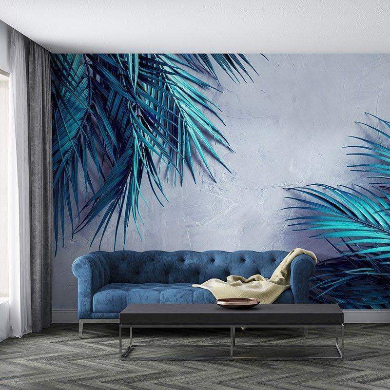 Fototapeta Turkusowe Liście Palmy na tle betonowej ściany