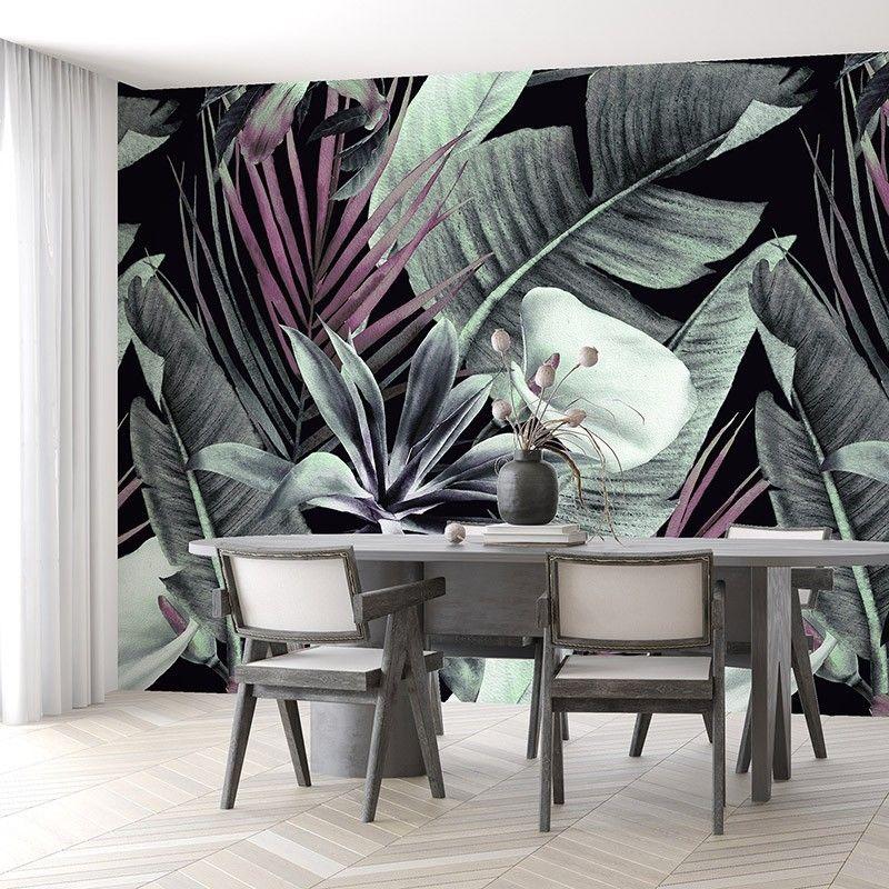 Fototapeta tropikalne kwiaty i liście na ciemnym tle