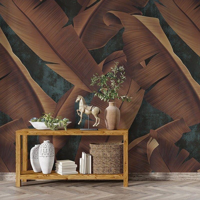 Fototapeta rdzawe jesienne liście na betonowej ścianie - wzór